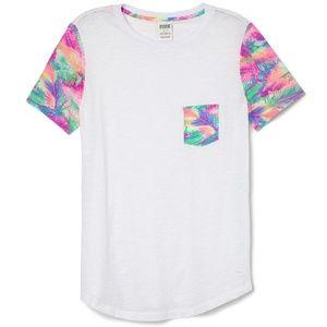 VS PINK Tropical Palm White Pocket T-shirt Top S